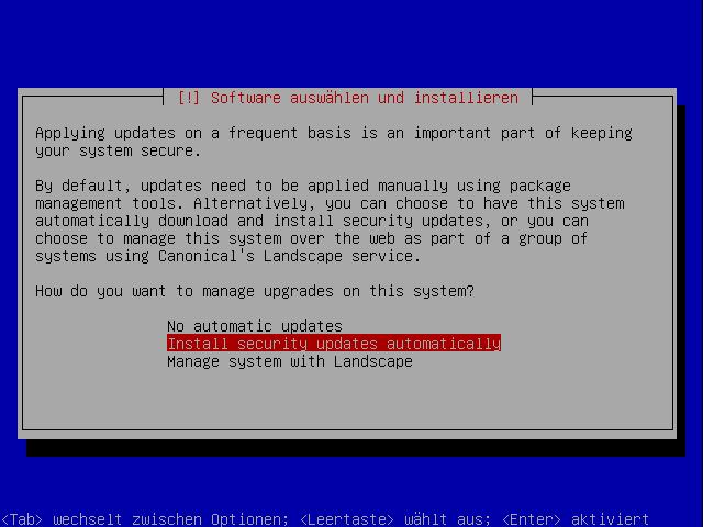 JeOS Installation (03): Automatische Updates