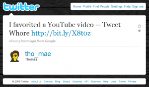 Twitter: I favorited a YouTube video -- Tweet Whore
