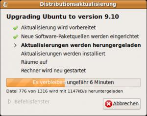 Distributionsaktualisierung: Upgrading Ubuntu to version 9.10