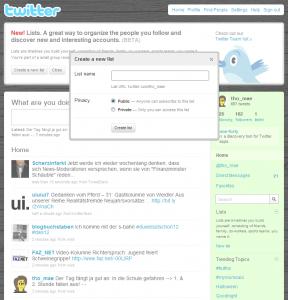 Twitter: Create a new list