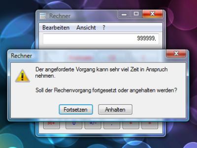 Windows: Taschenrechner (Rechenvorgang)