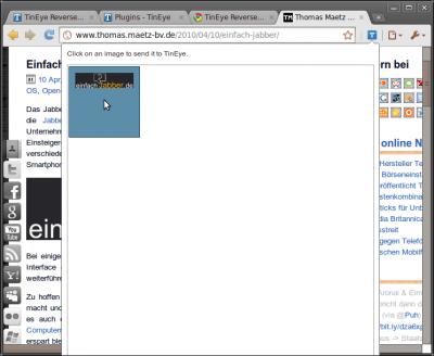Google Chrome-Erweiterung: TinEye (Select)