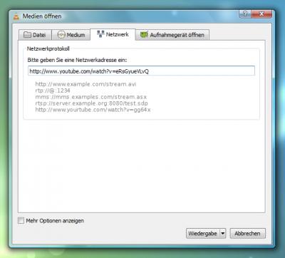 VLC media player: Netzwerk