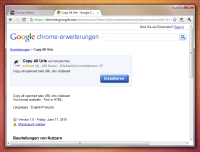 Google Chrome-Erweiterung: Copy All Urls (Copy)