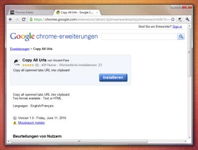 Google Chrome-Erweiterung: Copy All Urls (Copy)