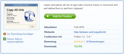 Mozilla Firefox Add-on: CopyAllURLs