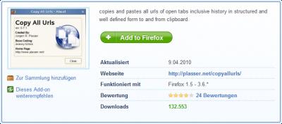 Mozilla Firefox Add-on: CopyAllURLs