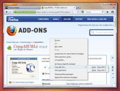 Mozilla Firefox Add-on: CopyAllURLs (Copy)
