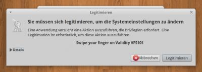 Authentifizierung mit Validity VFS101